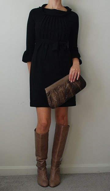 classy: Fashion, Sweater Dresses, Taupe Boot, Dress Girl, Fall Outfits, Brown Boots, Black Dress, Black Sweaters, Lighter Brown