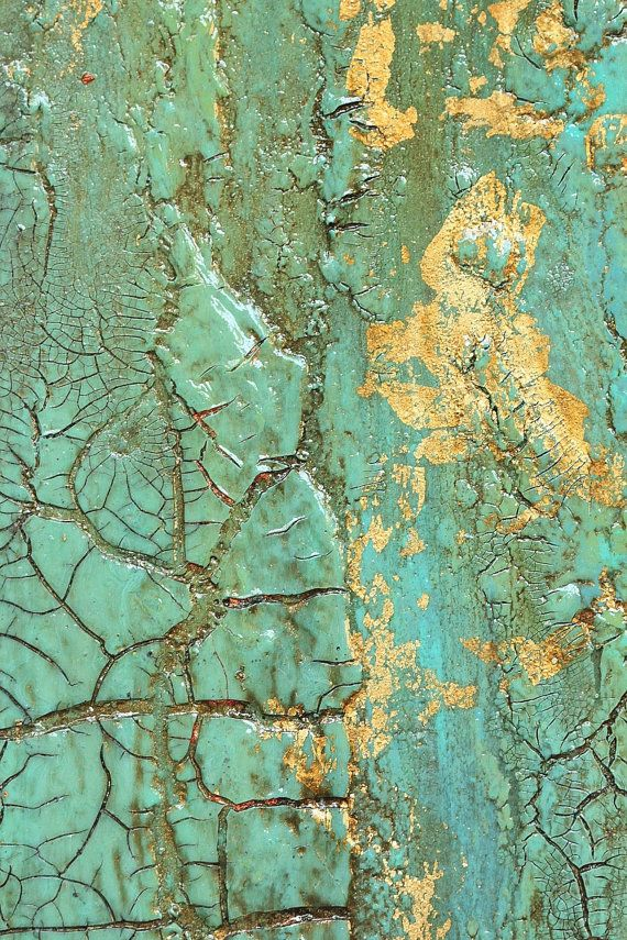 Abstract Turquoise Gold Leaf Texture Painting Original