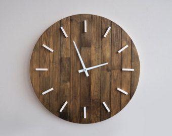 Reloj de pared rústico degradado, reloj de pared grande, plataforma de  madera, listo para la nave, angustiado reloj, reloj artesanal de madera