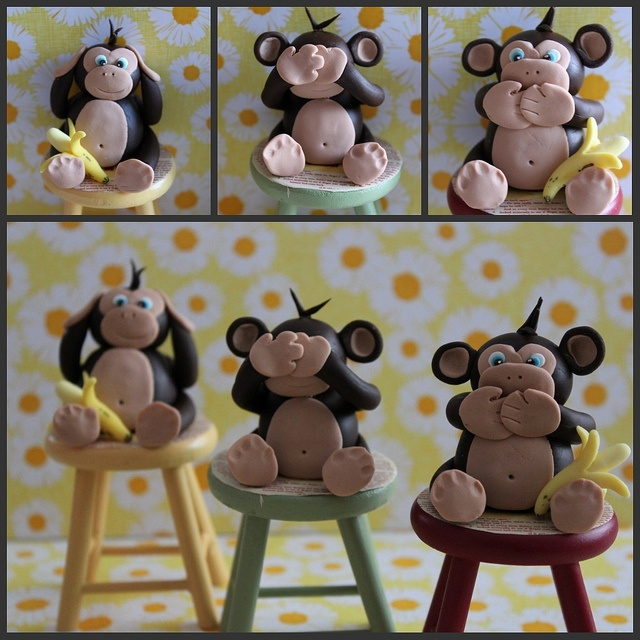 Hear no.....well you know how it goes! fondant monkeys
