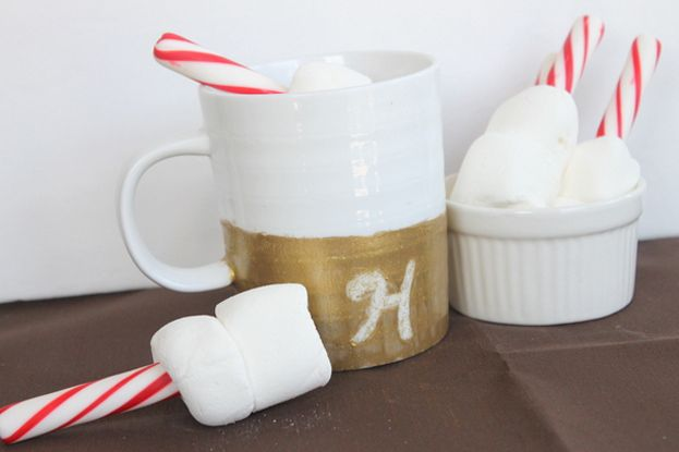 Gold Glitter Dipped Coffee Mug & Dark Hot Chocolate Recipe By The Country Chic Cottage - Do More for Less