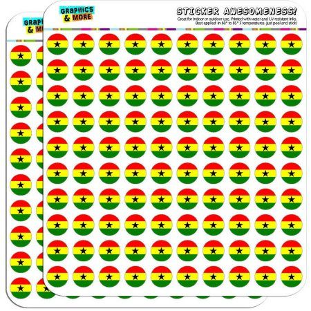 Ghana National Country Flag 200 1/2 inch (0.5 inch) Planner Calendar Scrapbooking Crafting Stickers, Clear