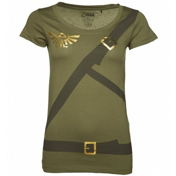 Women's Zelda Link Costume T-Shirt ($30) ❤ liked on Polyvore featuring costumes, womens green lantern costume, womens costumes, lady halloween costumes, green costumes and ladies halloween costumes