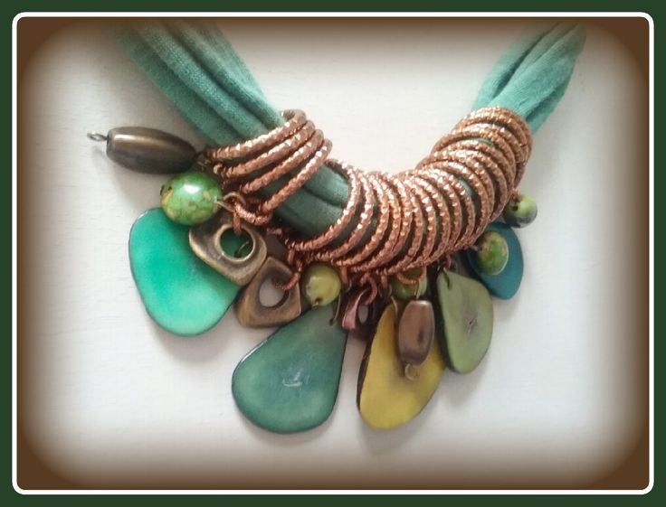Shades of green - tagua beads necklace