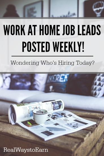 Looking for current work at home job leads? This page has a list of over 50 companies currently hiring now. Updated every week! via @RealWaystoEarn