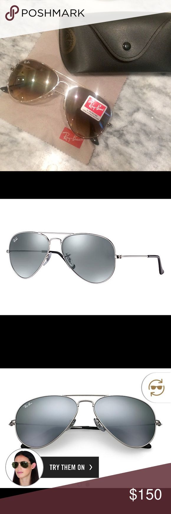 Ray Ban 3025 aviator- NEW polarized sunglasses Brand NEW Ray Ban's: Style rb3025 aviator lw 3277 58014. Silver frame, silver mirrored lenses, black stems, standard size. No prescription, purchased directly from website for $178. Unworn/unused, brand new, no scratches whatsoever! The glasses still have the Ray Ban sticker on the front of the outside lens. Comes with a cleaning cloth and a black faux leather sunglasses case with a bronze colored stamp on the outside and red lining on the…