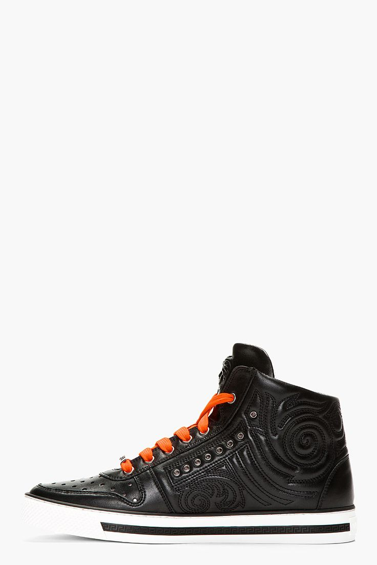 VERSACE Black Leather Hi Top Sneakers