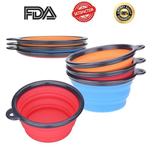 [SPECIAL OFFER TODAY] Ilyever Set of 3 Travel Collapsible Dog Bowl - Premium Pet Travel Bowl for Food and Water Bowls in Bright Colors - 100% Money Back Guarantee -- Find out more about the great product at the image link.