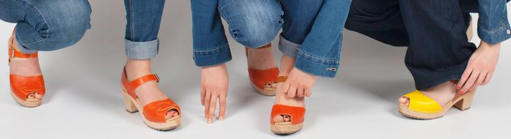 new orange peep toes and orange and yellow open toe clogs