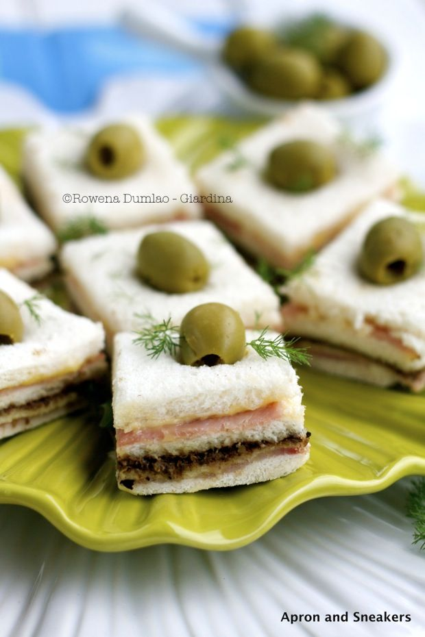 Ham Sandwiches With Olive, Fig and Almond Tapenade | Tea Sandwiches ...