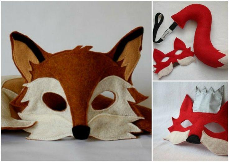 Drei Fuchsmasken in rot und braun mit und ohne Schwanz