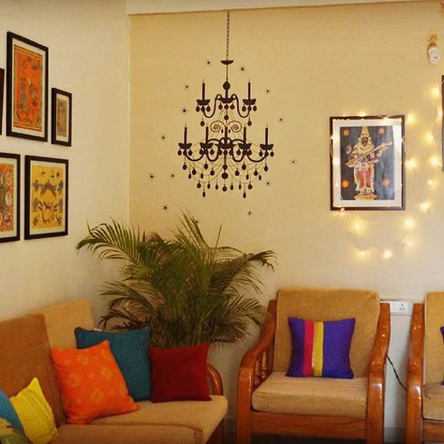 That's how colourful my life is and to this I have added some light too!! Sometimes you should try to add some fairy lights to your decor for a soft glow and dreamy ambiance.  Weekend is here and y'all have a lovely and creative one!!. . #livingroom #livingroomdecor #ethnicdecor #desidecor #indiandecor #indiandecorideas #colorinfused #mypopofcolor #colorinspiration #colorinspo #myeclecticmix #howyouhome #myplantlovinghome #interiorstyling #interiors #decor #cushions #walldecorating…