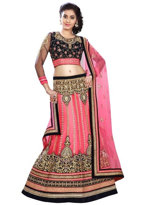 Pink Net Lehenga Choli with Embroidery Work