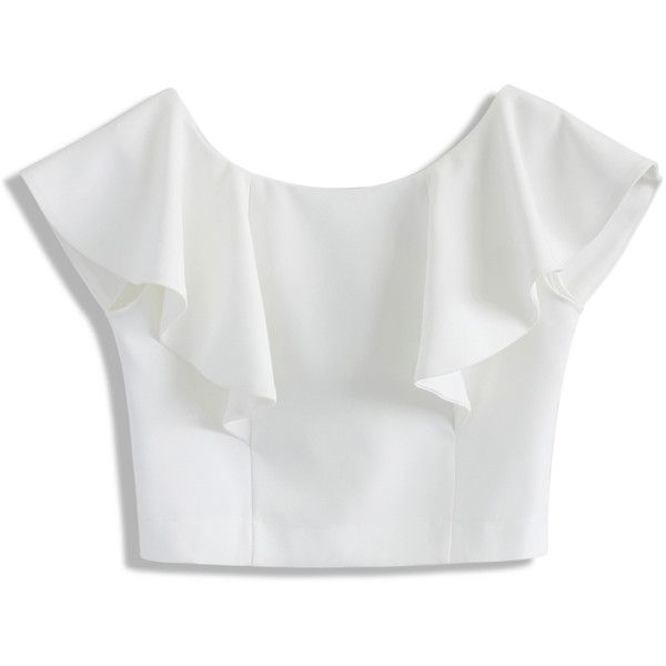 Chicwish Drift in a Frilling White Cropped Top found on Polyvore featuring tops, blouses/tops, white, white top, bateau neckline tops, flutter-sleeve top, white flounce top and boat neck tops