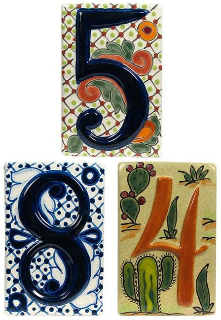 Three styles of Talavera address number tiles. These ceramic house number tiles with raised numbers are handmade and hand painted in Mexico.