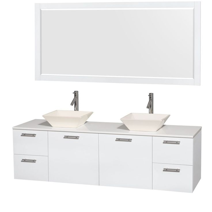 Wyndham Collection Amare 72 Inch Double Vanity In Glossy White, White Stone  Countertop, 70 Inch Mirror (Glossy White,WHT Stone Top,Pyra WHT Sinks,70  Mrr), ...