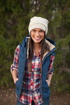 The Pink Lily Boutique - Navy Hooded Puffer Vest,...
