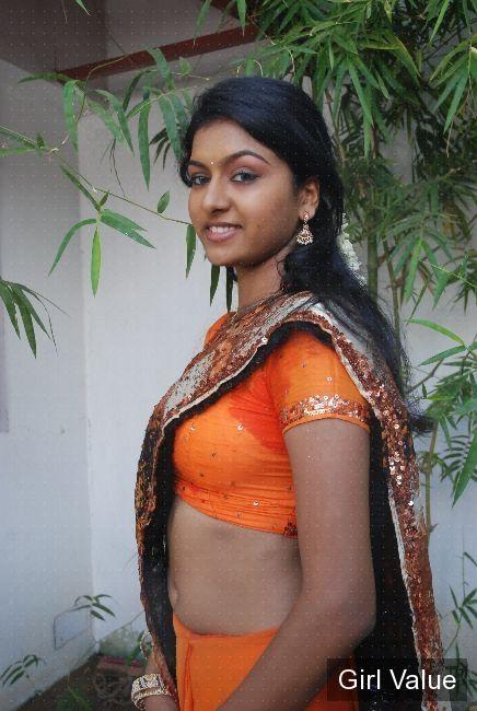 Desi Mallu Tamil Girl Show Navel In Tight Orange Saree -8854