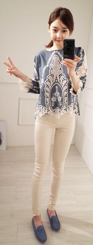 Luxe Asian Women Dresses Fashion Style Korean Clothing Top Blouse Shirt Blue Juliet Blouse K