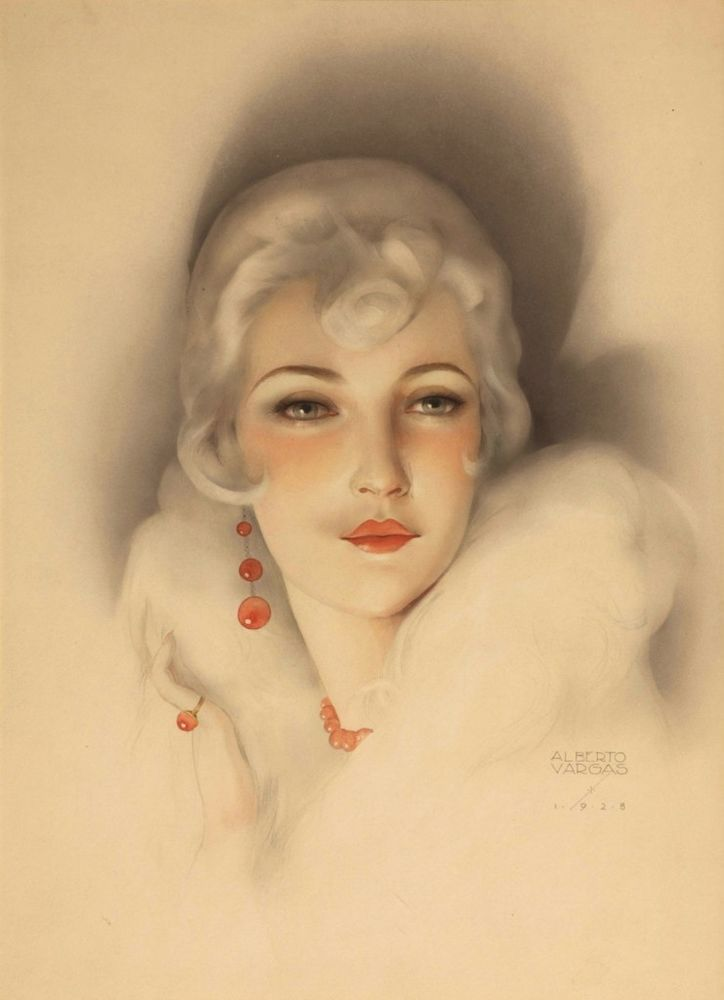 Coral Lipstick : Alberto Vargas : c1928 : Fine Giclee Print #VintageAdvertising
