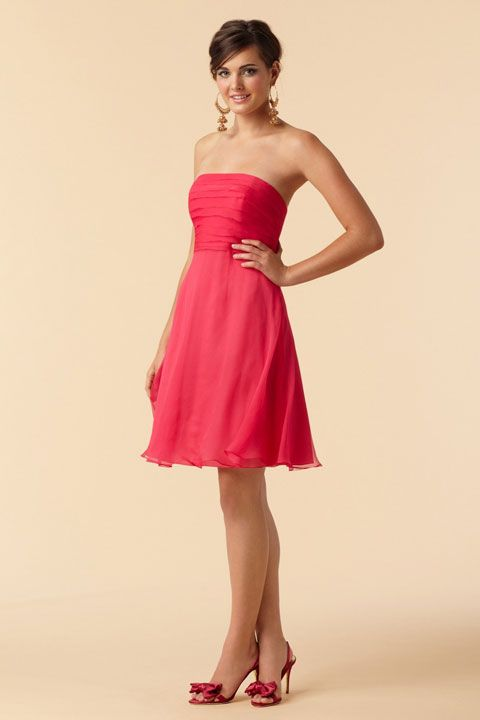 Strapless A-line with ruffle embellishment chiffon dress
