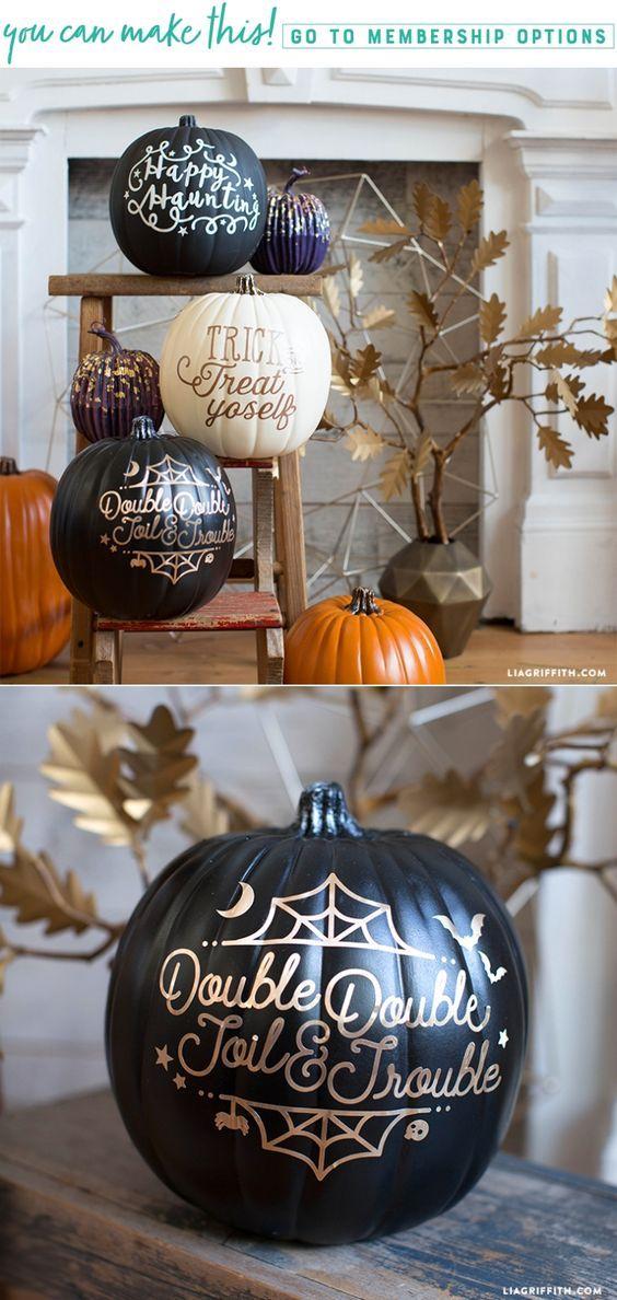 Halloween Pumpkin Decals - Lia Griffith - www.liagriffith.com #diyinspiration #diyidea #diyideas #diyhalloween #pumpkindecorations #pumpkins #madewithlia