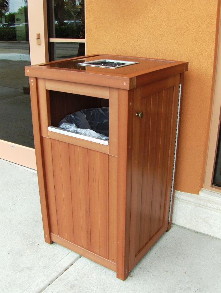 Synthetic Wood Single Trash Receptical with Ashtray Top