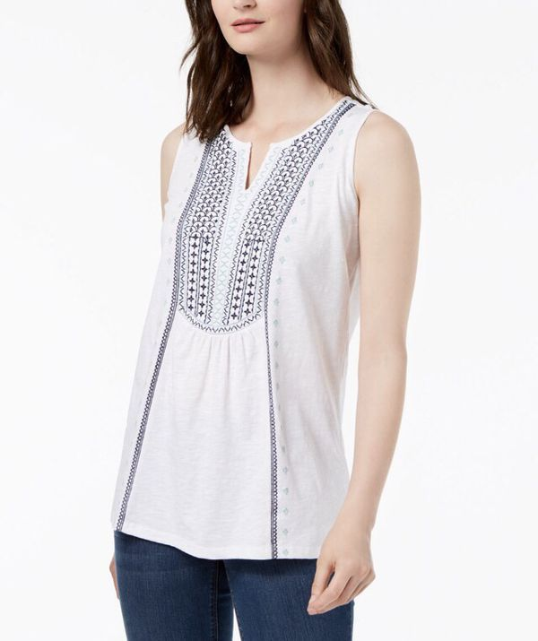 Charter Club Women/'s Pintucked Embroidered Tank Top