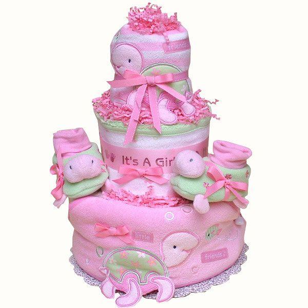 Pink Turtle Diaper Cake