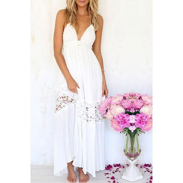 Yoins White Backless Halter Stitching Lace Beach Dress ($19) ❤ liked on Polyvore featuring dresses, vestido, white backless dress, sexy white dresses, white halter dress, white halter top and white dress