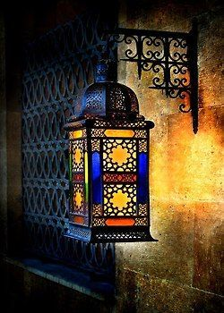 Moroccan Lantern ~ Amber and Blue