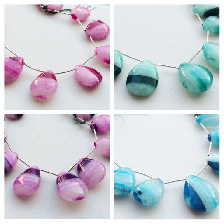 New in my collection - Shaded bands of color - Chalcedony in Pink, Purple, Aqua Blue and Emerald Green!! Bring it on.. Only on gemsforjewels!