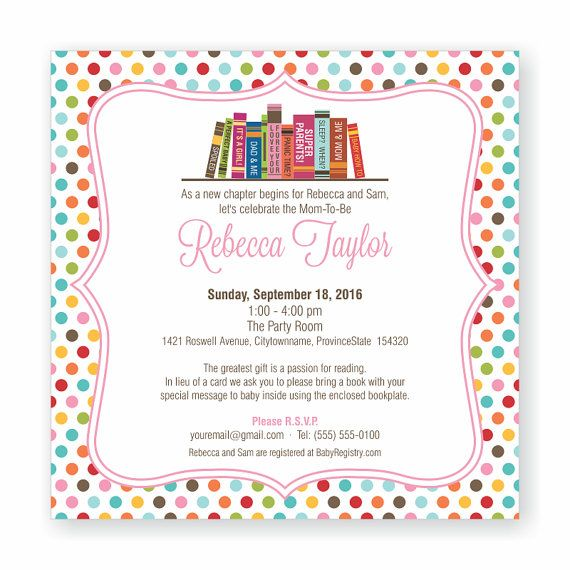 Book Theme Baby Shower Invitation by decorandcrafts.com Perfect for a Build a Library or Bring a Book baby shower theme ::  #booktheme #babyshower #invitation
