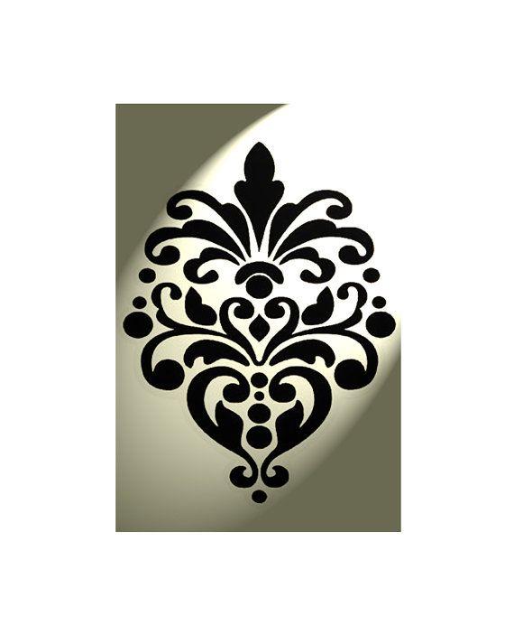 LOVE damask Stencil Shabby Chic French Vintage mylar A4 297x210mm wall french