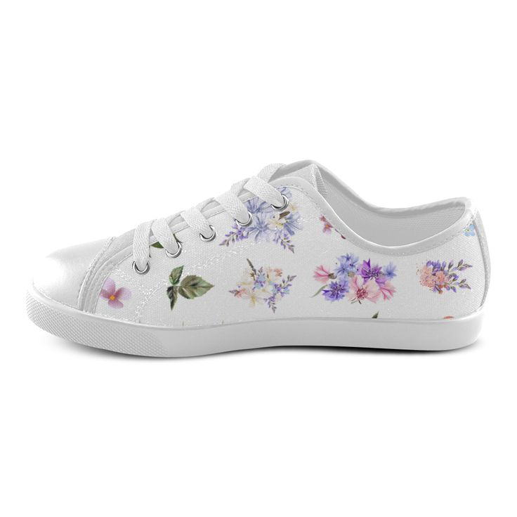 Cute floral artistic Shoes : Purple and White edition 2016 Canvas Kid's Shoes (Model 007).