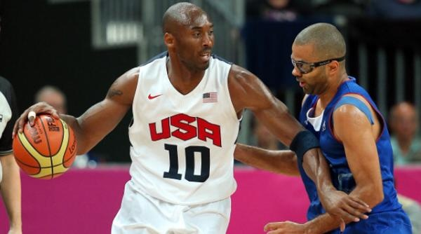 Kobe Bryant #10 of United States drives against Tony Parker #9 of France during their Men's Basketball Game on Day 2 of the London 2012 Olympic Games at the Basketball Arena on July 29, 2012 in London, England.
