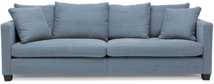 Happy soffa/soffa - 3,5 sits i tyg Ranch, delad rygg Blue - Svenska Hem