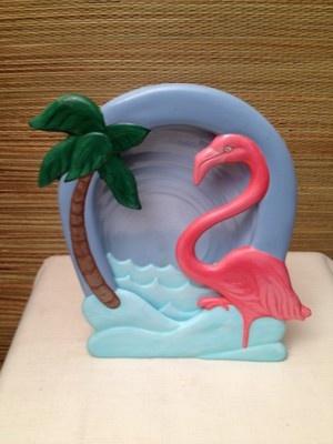 Vintage Flamingo Palm Tree Table or Bathroom Tropical Night Light Tampa Bay Mold