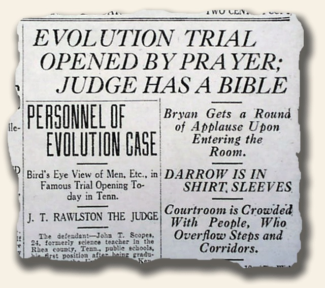 tennessee vs john scopes the monkey Tennessee vs john scopes - the monkey trial time line of evolution-creationism debate: 1919 george w hunter publishes civic biology, a.