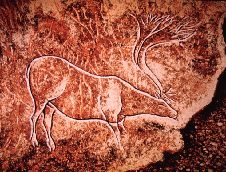 Paleolithic Cave Paintings  Red ochre cave painting	Vallon-Pont-d'Arc, France 15,000-18,000 BC