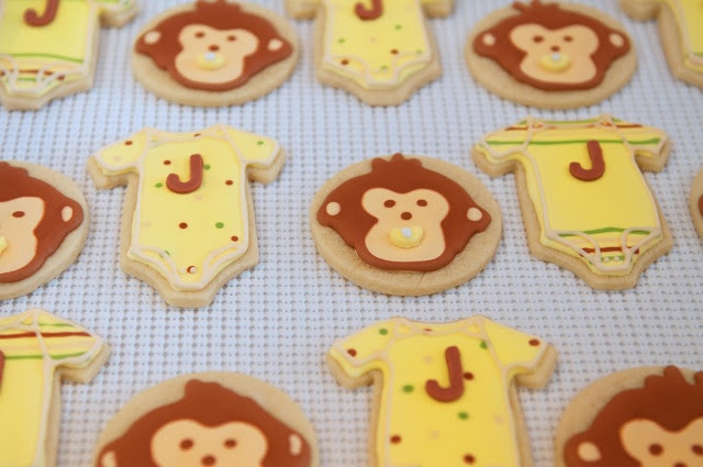 Monkey and onesie baby shower cookies