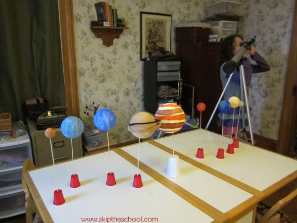 Build a creative solar system model to bring some #astronomy into your #homeschool room.