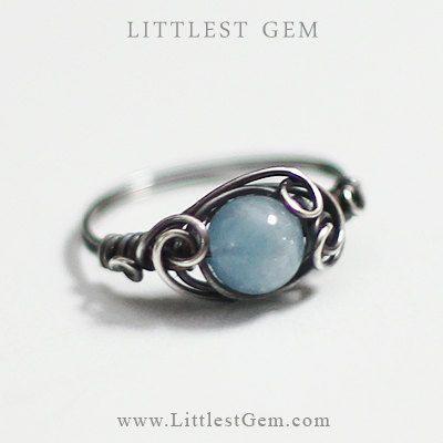 nice Antiqued Aquamarine Ring, sterling silver ring, wire wrapped ring, wire wrapped ...