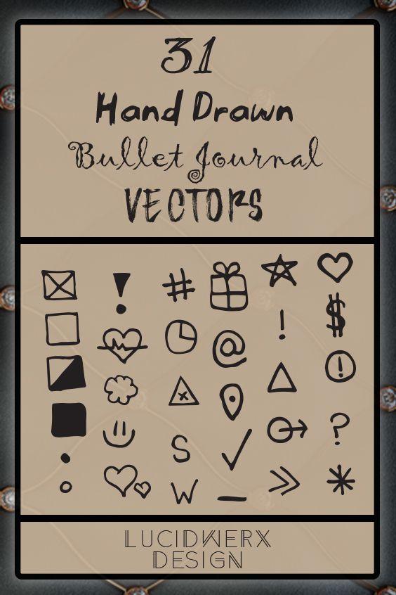 graphic about Bullet Journal Symbols Printable named Bullet Magazine Major Vectors BuJo Printables Vector