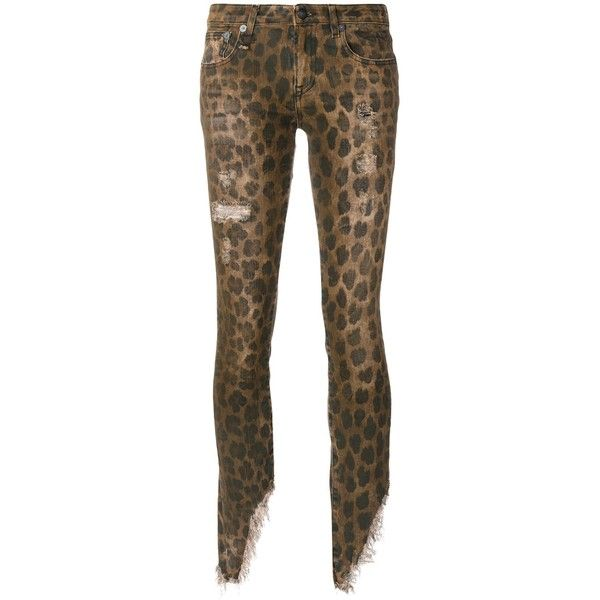 Kate Skinny Distressed Jeans In Leopard ($475) ❤ liked on Polyvore featuring jeans, brown skinny jeans, ripped jeans, skinny jeans, low rise skinny jeans and leopard print skinny jeans