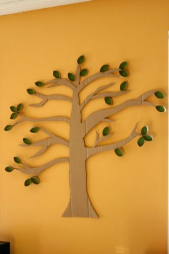 cardboard and toilet paper roll tree from craftingagreenworld  feel certain I could do this with something: fruits of the spirit, faith family tree, something