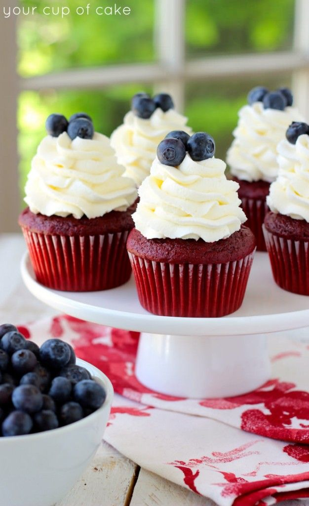 Red Velvet 4th of July Cupcakes - Your Cup of Cake