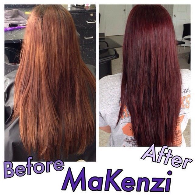 Before After Long Hair Faded Redish Brown To Vibrant Red Violet Hair Paul Mit Long Hair Fade Long Hair Styles Thick Hair Styles