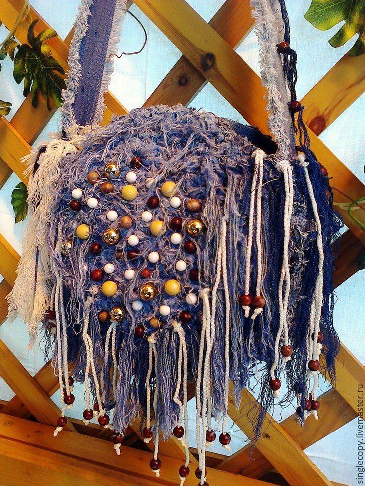 Купить Джинсовая сумка круглая с бахромой вязанная - абстрактный, джинсовая сумка, женская сумка