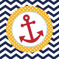 Ahoy Matey Anchor Print Lunch Napkins (18 ct)
